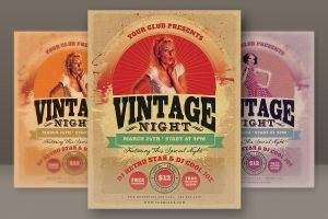 Vintage Night Party Flyer by hugoo13