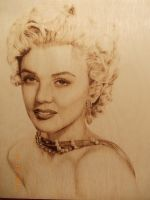 Merilyn Monroe - Wood burning (pyrography art) by SherPic