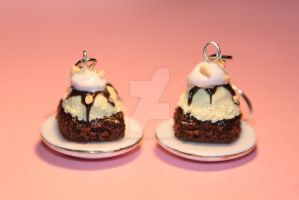 Realistic Brownie Sundae Earrings by ClayConfectionary