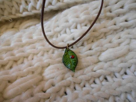 Leaf with Ladybug Polymer Clay Necklace 02 by Alhys