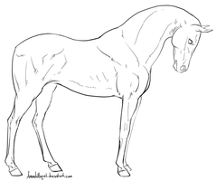 Standing Horse Lineart by AmandaRaquel