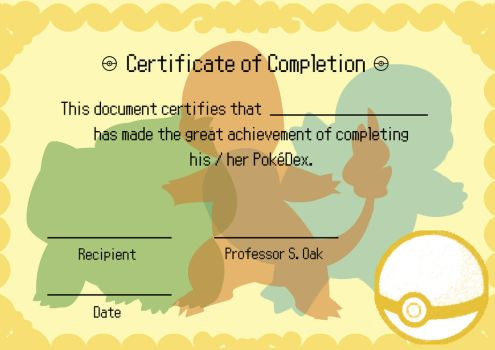 Pokemon Diploma / Certificate by OliverGeary