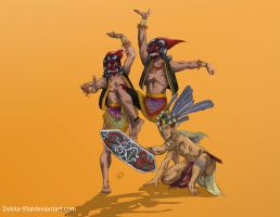 Warok dan prajurit dayak color by Dekka-93