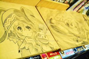Yoshino and Yoshinon(Pen and Pencil table drawing) by kanoemushi