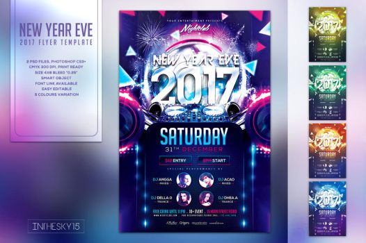 New Year Eve 2017 Flyer Template by ranvx54