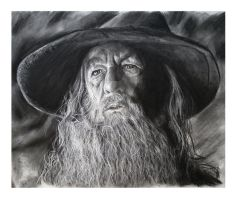 Gandalf Charcoal Portrait by aaronbakerart