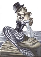 Steampunk Mermaid Commission by em-scribbles