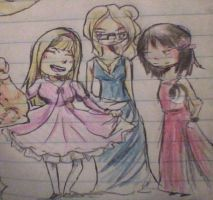 Nicole, Eliza and Lillian dressed as princesses by skatergirl747