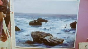 Rock and Sea Oil painting by suzanna8767
