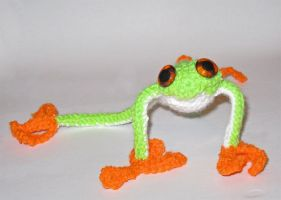 Red eyes tree frog crochet by Little-Vampire