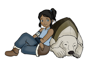 Chibi Korra and Naga by eduardowar