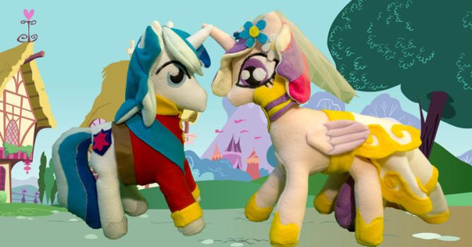 Cadance and shining armor ponie plushies by CosmicCrafts