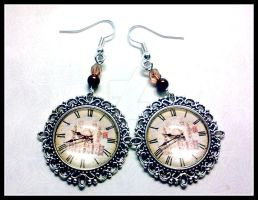 Vintage Clock Earrings by Eibhlin-san