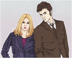 the tenth Doctor and Rose by N-a-y-a