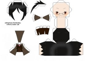 Black Butler Sebastian Papercraft, Tutor Version by DisruptiveDiva