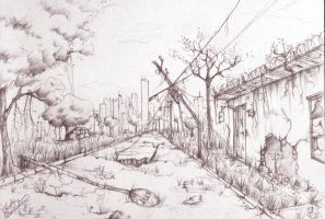 Scenery - Post apocalyptic street by yuukitaachi