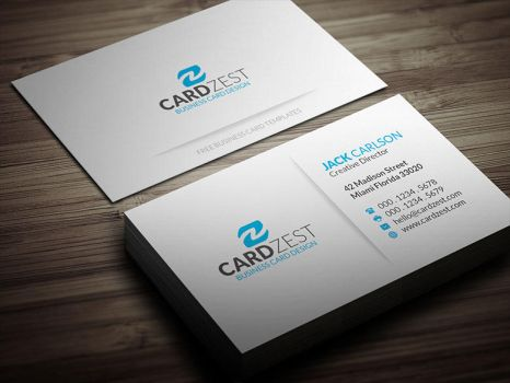 Simple Blue Minimalist Business Card Template by mengloong
