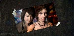 Memories of Lara: Lara and Sam in Kyoto streets by doppeL-zgz