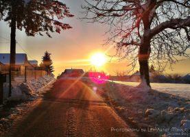 Winter sunset in Slovenia by Cleicha