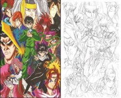 YuYu Hakusho fan art sketch and color  01 by d13mon-studios