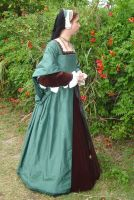 Green Silk Tudor Gown Side Front by CenturiesSewing