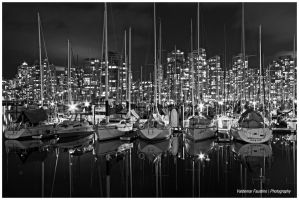 Sailboats at Night by Val-Faustino