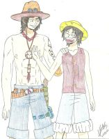 Ace and Luffy by MisakiByakko