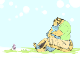 tiger hug dog, couple by Galvin-wolf