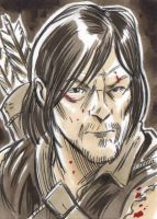 Walking Dead Daryl Dixon Sketch Card by timshinn73