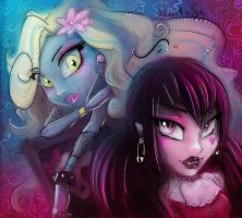 Monster High: Lagoona and Draculaura by Miatriss