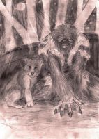 wolfman and cub by lordofpencil