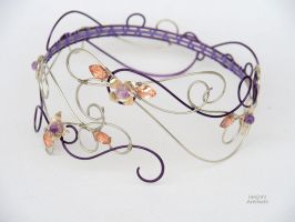 Purple wire wrapped arm cuff with amethyst flowers by IanirasArtifacts