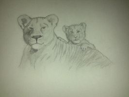 Lioness And Cub by TaKKuN923