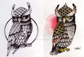 Tattoo Flash- Owl by ArtemDesigns