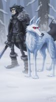 jon snow and ghost by Oozn