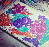 Flower doodles with different colours by aoiblue02