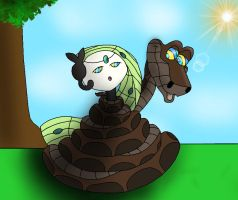Kaa captures Meloetta by Kiniun-Latios