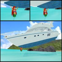 Ariel (Little Mermaid) lifting a yacht by chaza1234