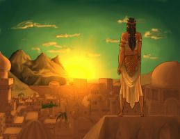 Sa'diyah Nejem Atiyeh Watching The Sun Rise -color by Legendary41
