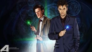 Tenth Doctor and Eleventh Doctor by spidermonkey23