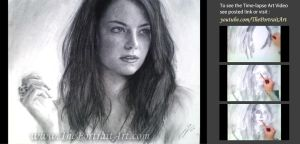 Emma Stone Charcoal Portrait by theportraitart