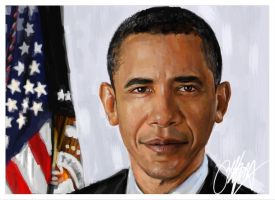 President Obama Painting by kyle-lambert