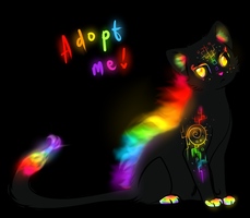 Flaming Rainbow Cat Adoptable CLOSED by TheFireGypsy