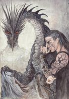 Kor Gat and Black Dragon by morgansartworld