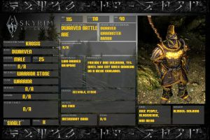 SKYRIM Character sheet: Krosis by ZomibeSlayer117