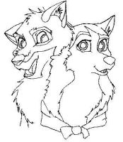 Balto And Jenna Line Art by Tigz-Moonlight