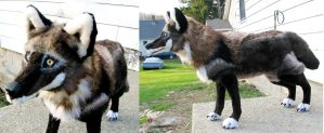 Large Black Plush Wolf 2 by Jarahamee