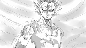 Majin Vegeta's Sacrifice (sketch) by condemned2love