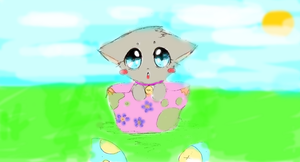 kitty in the bowl/colored by Claire1998