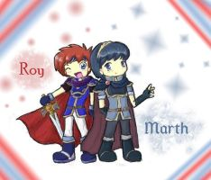 Chibi Roy and Marth by firehorse6